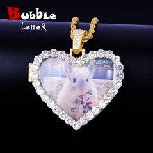 Collier et pendentif faits sur commande de médaillons de coeur de Photo avec la chaîne de Tennis de 4mm couleur dor AAA Zircon bijoux de Hip hop des hommes 5x4.8cm