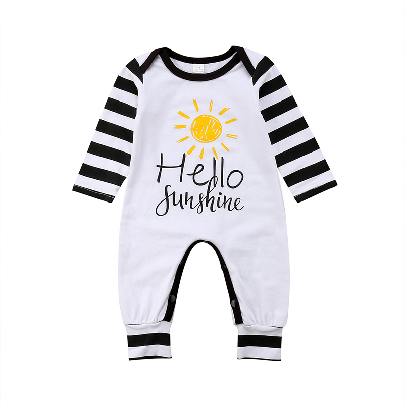 Pudcoco Newborn Baby Kids Boys Girls Long Sleeve Rompers Striepd Letter Print Jumpsuit Spring Autmn Infant Clothing
