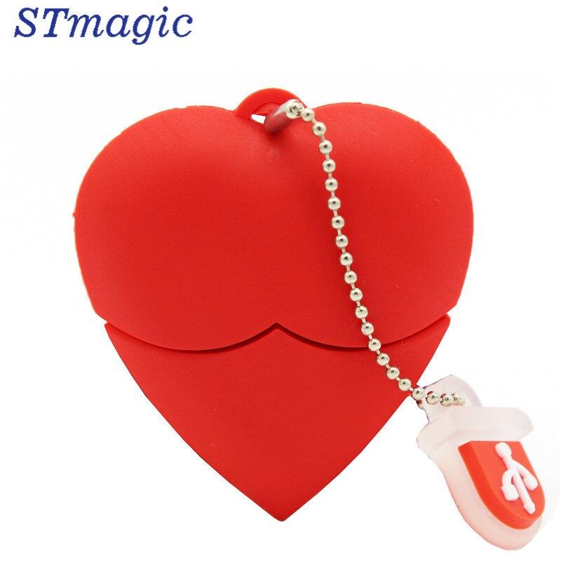 STmagic U Disk pen drive 4GB 8GB 16GB 32GB cartoon red heart best gift usb flash drive cartoon usb 2 0 flash drive red black 8gb