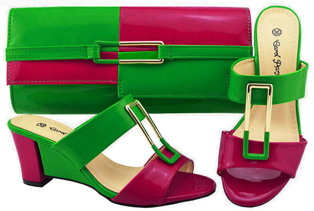 New Green+Fuchsia color Italian Shoes With Matching Bags African Women Shoes and Bags Set For Prom Party Summer Sandal ! JZC007