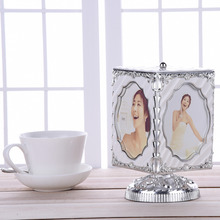 Super Nice Gift! 5 inch Rotating Music Box Photo Frame PVC Photo Frame With Musical Box Wedding Display Home Decoration