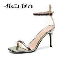 AIKELINYU 2019 Summer Women Cowhide Heel Sexy Sandals High Heels Buckle Strap Female Fashion Dress Woman Sandal Shoes Girls Pump