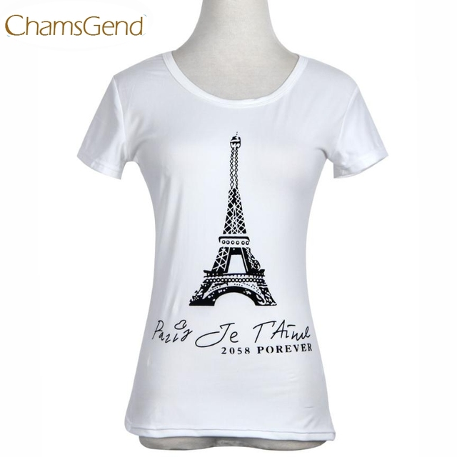 f95a6a31b9b8 € 1.85 17% de DESCUENTO|Aliexpress.com: Comprar Chamsgend nuevo diseño de  las mujeres de París Torre Eiffel imprimir Camiseta de manga corta de ...