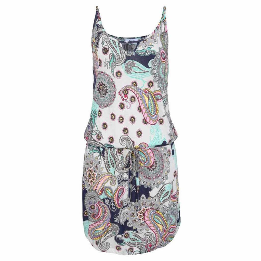 2019 женское летнее мини-платье в стиле бохо, Пляжное платье с цветочным принтом, сарафан-туника, свободное мини-платье для вечеринки, vestidos, большие размеры W0619