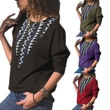 S-XL women autumn spring o neck long sleeve t shirt women loose floral print tops tshirt цена в Москве и Питере
