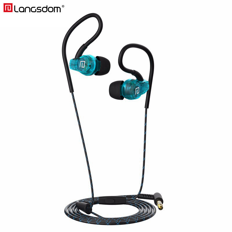 Langsdom Sport Earphone Headphone In-Ear Bass Ear Hook Earbuds Running Sweatproof Headset with Microphone for Mobile Phone MP3 songful s1 stereo deep bass earphone sport running headset sweat proof ear hook earbuds hifi handsfree with mic for iphone mp3 4