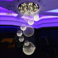Вилла зал люстра дуплекс строительство крупных люстра хрустальный шар светодиодный лестницы люстра лобби проект люстра лампы