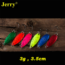 Jerry 6pcs 3g micro trout spoons multiple colors free tackle box freshwater fishing lures spinner bait