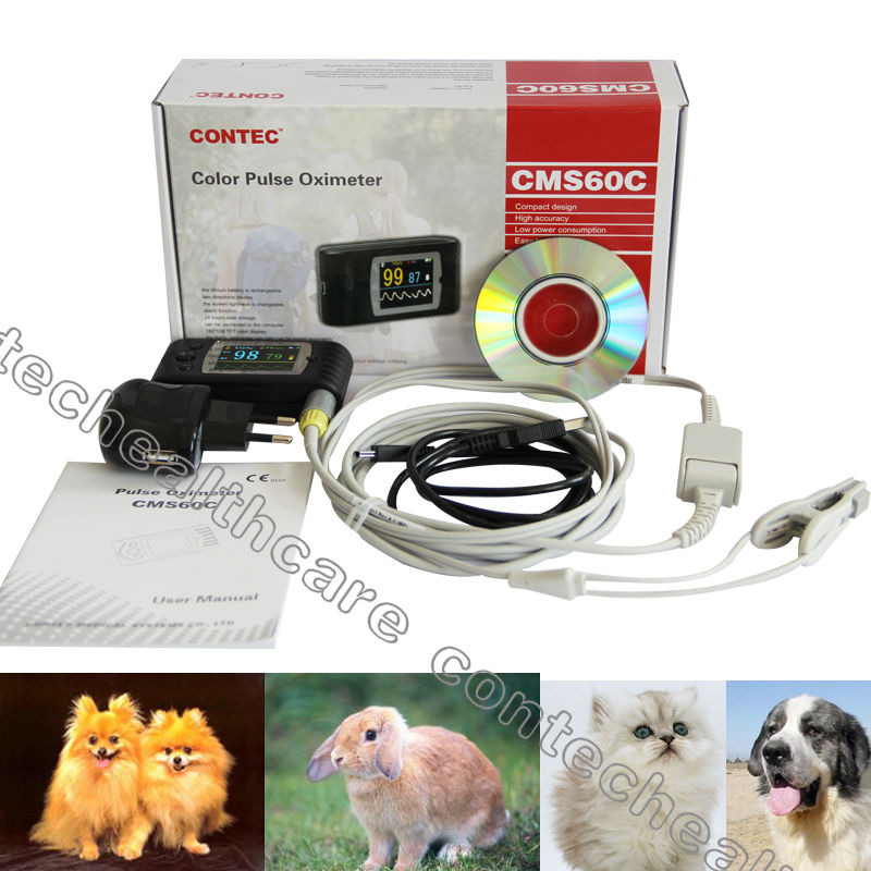 CE&FDA FDA Veterinary Vet Animals TFT Finger Pulse Oximeter,SPO2 Oximetry+USB+CD