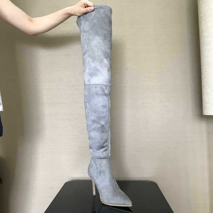 2019 брендовые эластичные замшевые сапоги до бедра на высоком каблуке; женские зимние сапоги; пикантные ботфорты на шпильке; женская обувь