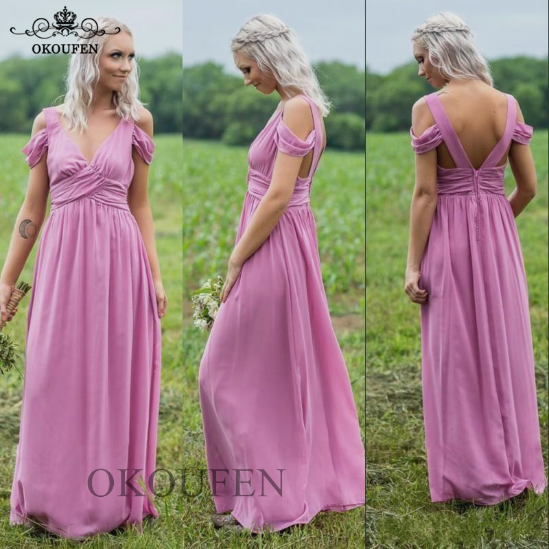 Lavender Chiffon Long   Bridesmaid     Dresses   For Women 2019 A Line Off Shoulder Wholesale Beach Bohemia   Dress   Wedding Party Gown