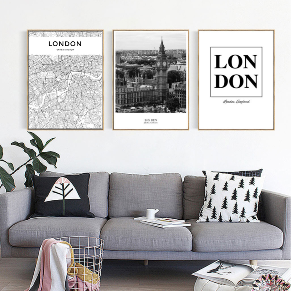 Londres Carte Paysage Toile Peintures Moderne Noir Et Blanc Affiche  Imprimer Mur Art Photos Pour Salon Décor à La Maison Sans Cadre Dans  Peinture Et ...