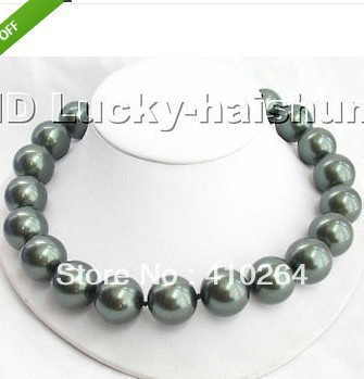 free shipping 20mm 100% Tahitian black south sea shell pearl necklace
