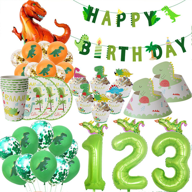 WEIGAO Dinosaur Birthday Party Disposable Tableware Sets Kids Animal Birthday Party Decoration Paper Banner/Cup/Plate Supplies
