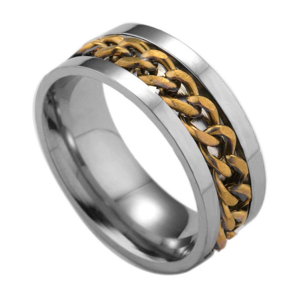 Fashion Spinner Black Chain Ring For Men Punk Titanium Steel Metal Vnox Brand Finger Anel