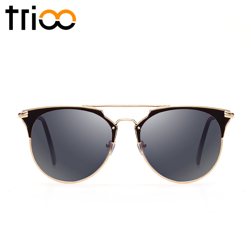 TRIOO High Fashion Black Round Men Sunglasses Brand Designer Shades UV400 Protect Color Lens Mirror Sun Glasses For Men Oculos