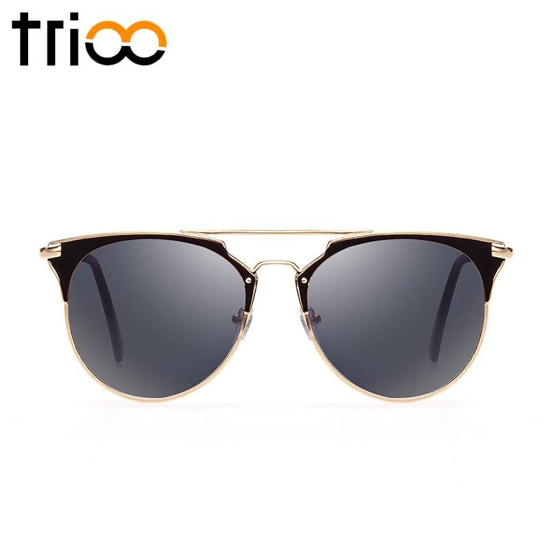 Trioo alta moda negro ronda hombres gafas de sol marca diseñador sombras UV400 proteger color lente espejo gafas de sol para hombres oculos