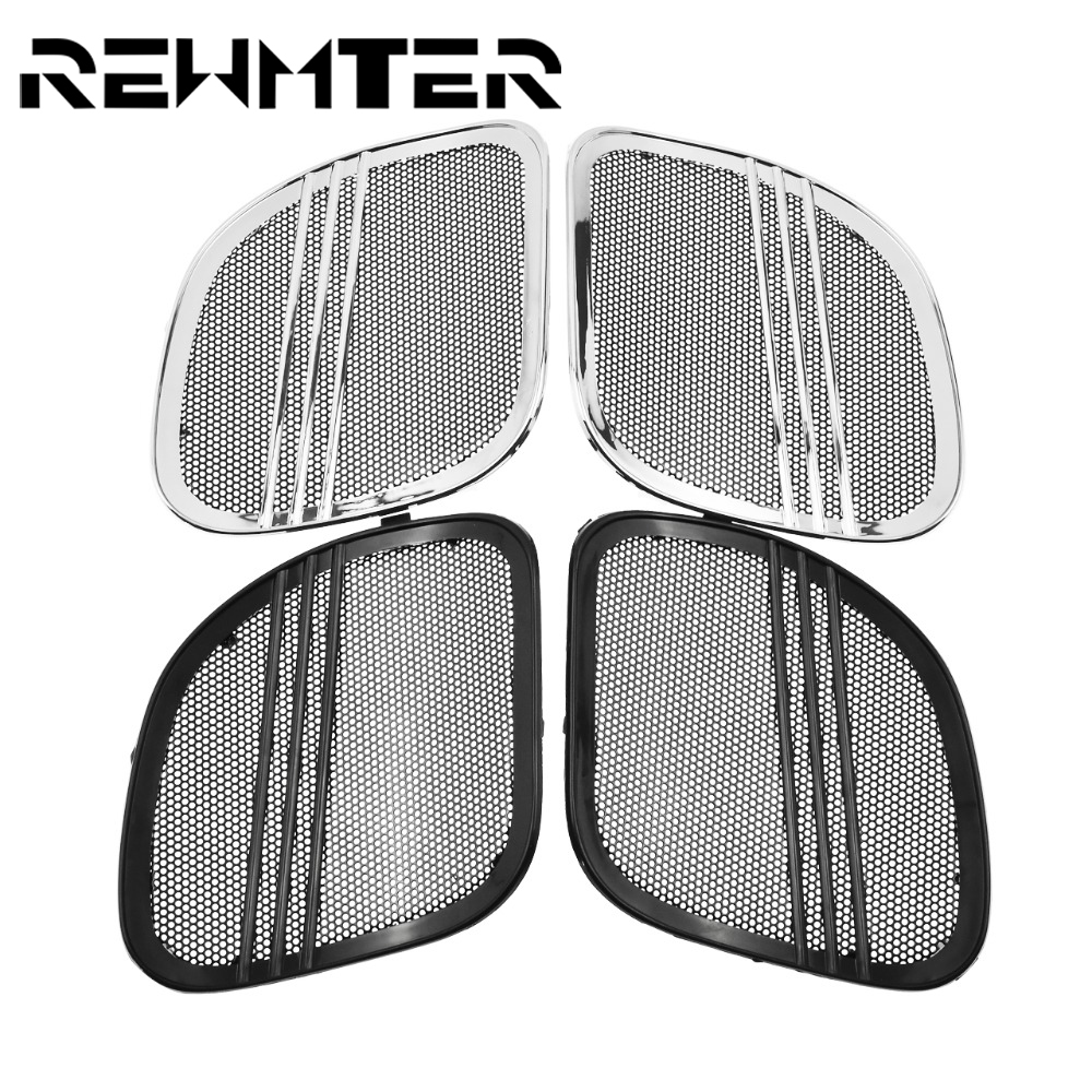 REWMTER Motorcycle High Quality Black Chrome Tri Line Speaker Horn cover For Harley Touring Road Glide