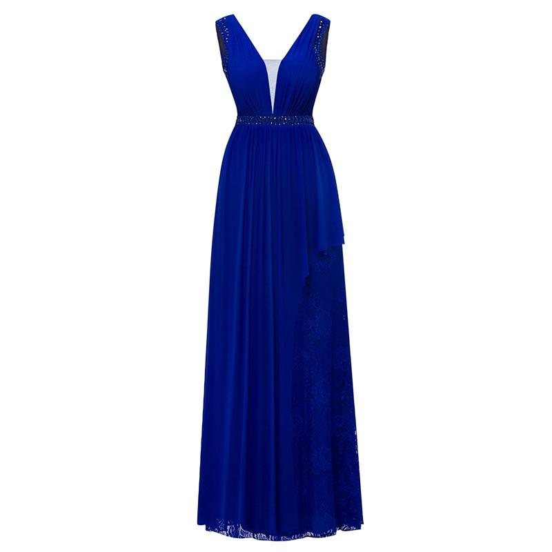 Dressv Royal Blue Long Evening Dress Cheap V Neck Sleeveless Beading Crystal Wedding Party Formal Dress A Line Evening Dresses