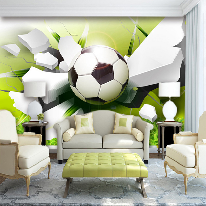 Custom Wall Mural Wallpaper Modern 3D Stereoscopic Football Broken Wall Living Room Sofa Background 3D Photo Wallpaper Non-woven custom photo wallpaper 3d stereoscopic cave seascape sunrise tv background modern mural wallpaper living room bedroom wall art