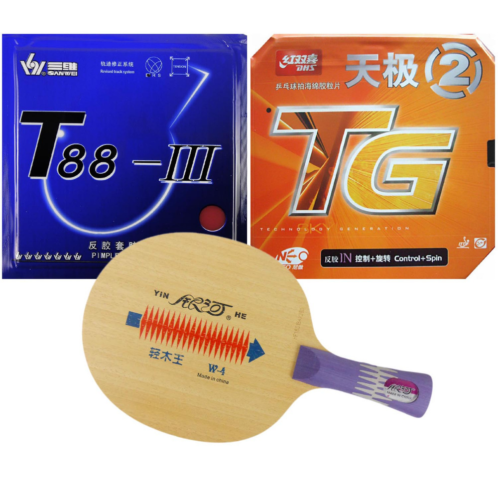 Yinhe W-4  with  DHS NEO Skyline TG2 and Sanwei T88-III Shakehand long handle FL original pro table tennis combo racket galaxy yinhe t 11 with dhs neo hurricane 2 neo skyline tg2 shakehand long handle fl