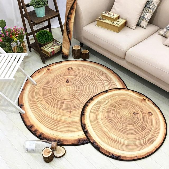 6mm 3d mat new nordic style circular carpet wood grain rings