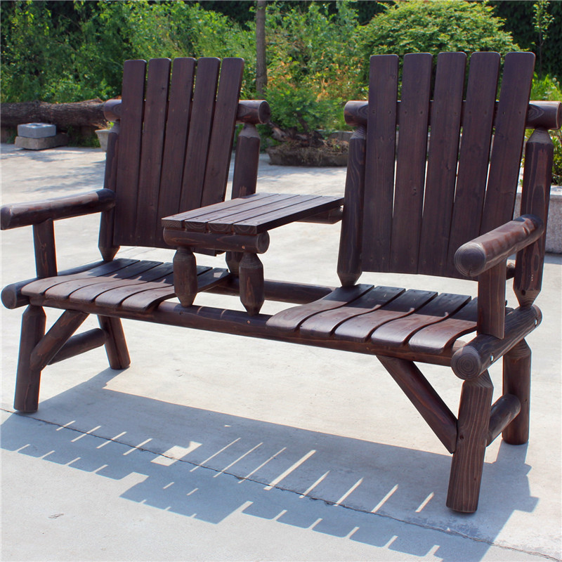 Free Shipping Outdoor Furniture Wood Folding Beach Camping Double Bench Chair With Table Large Size 2017new Curved Seat