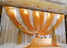 3m 6m Fabric Ice Silk Drape Curtain Wedding Backdrop Decoration with Swag Party Stage Celebration Favors