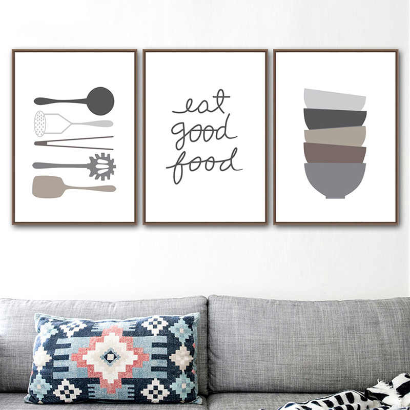 Nordic Wall Art Canvas Print Black And White Cartoon Painting Pop Tableware Life Minimalist Poster Picture For Kitchen Home Deco