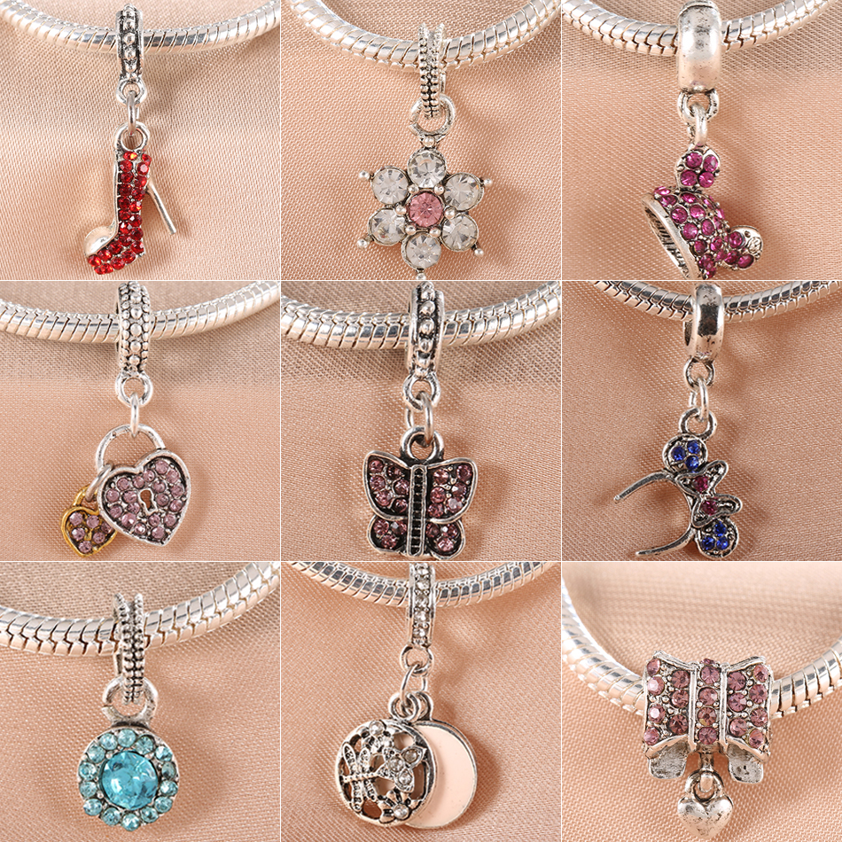 1pc New Fashion Mickey Flower Butterfly Bead Charms European Silver Color Bow & Heart Bead Fits Pandora Charm Bracelet Necklace