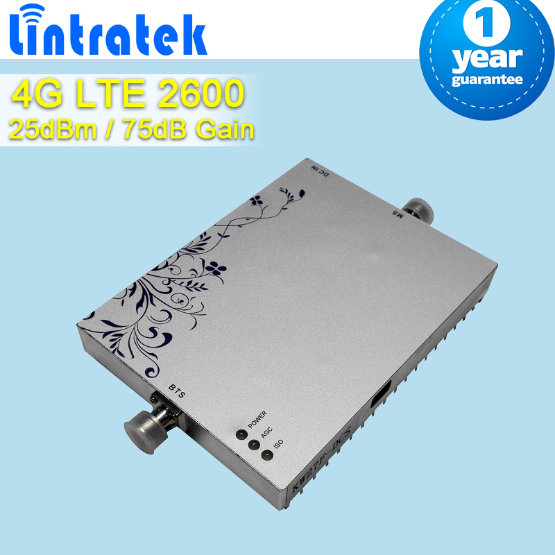 Lintratek MGC AGC Function 4G LTE 2600 Mhz Mobile Phone Signal Repeater 75dB Gain 25dBm Booster Amplifier For Home And Office