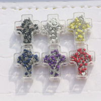 12pcs Mix 6colors In Cross Boxes 4mm Rosary Bead Jesus Cross Necklace Virgin Mary Pendant For