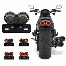 Red LED tail light Rear Tail Light Brake Cruiser Retro for Motorcycle Car Modified double round