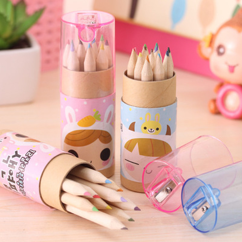 12pcs/set Cartoon Color Pencil Stationery Novelty Cute Drawing Set Student Drawing Art Supplies For Kids Stationery Color Pencil