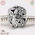 Hot Sale Lovely Enamel 925 Real Silver Flower Fairy Charm Fitting European Silver Bracelet