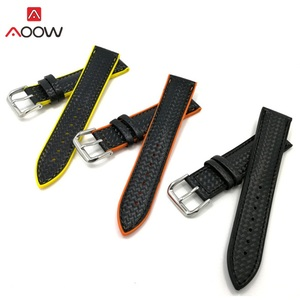 AOOW Silicone Sport Watchband Replacement Strap Bracelets Genuine Leather Carbon fiber 18mm 20mm 22mm Watchband for Men Women(China)