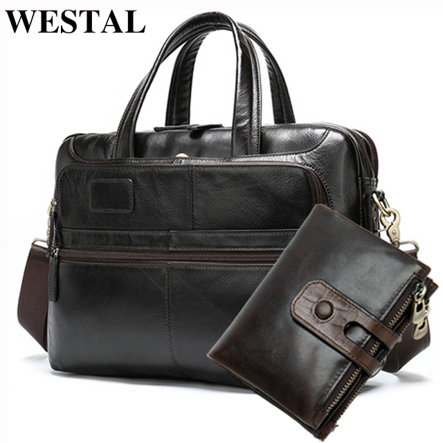 WESTAL men's briefcase bags set leather laptop bag/messenger bag men's genuine leather office bags business tote for document