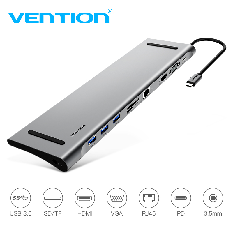 Vention USB C Adapter for Macbook Type C to HDMI VGA Converter USB-C 3.0 HUB SD/TF Card Reader PD Charging RJ45 Adapter usb type c pd wall charger fast charging power adapter for new macbook pro dell 9350 acer r13 samsung asus hp