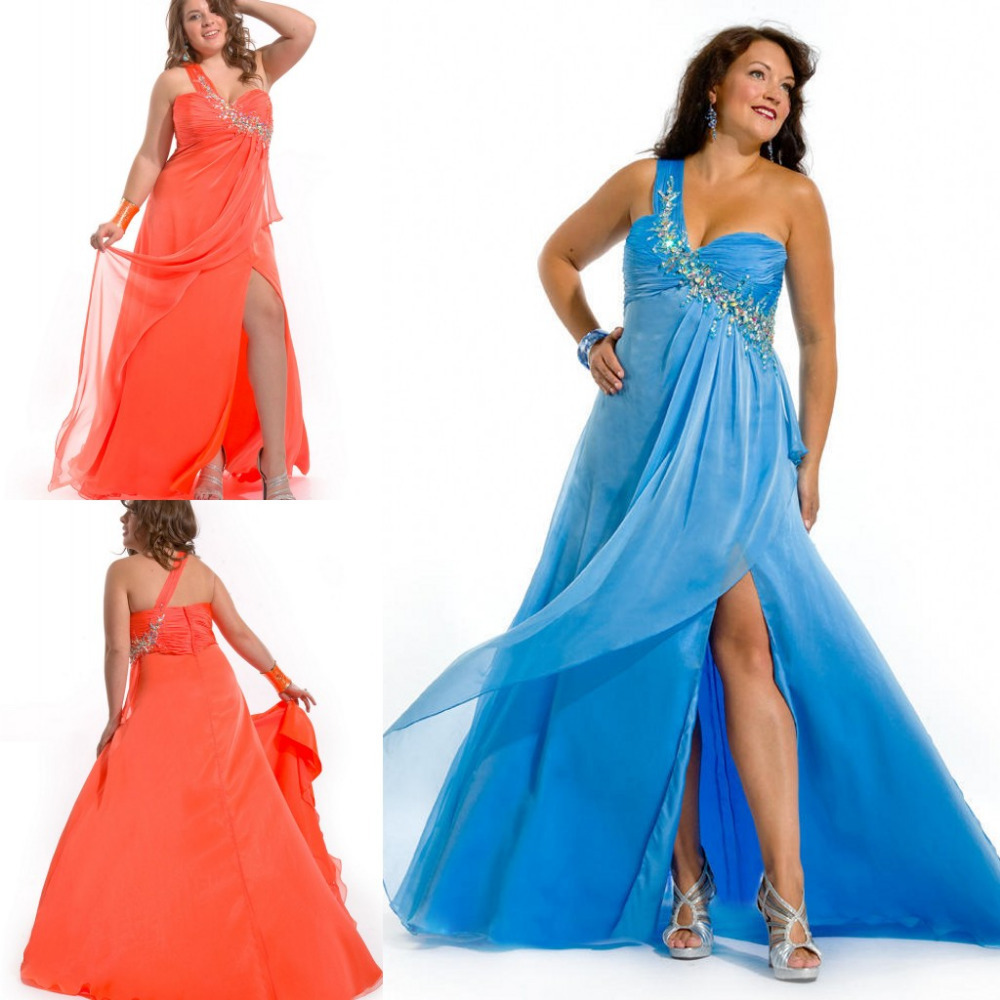 Fat Lady Sheath One Shoulder Front Slit Floor Length Chiffon Open ...