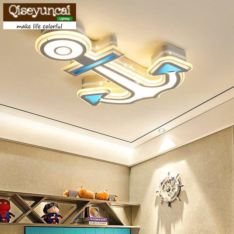 Qiseyuncai простые идеи Детская комната глаза потолочные светильники мультфильм якорь детский сад мальчиков и девочек кабинет Спальня лампы