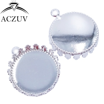 200pcs Silver Plated 15mm 20mm 25mm Crown Cabochon Setting Charm Earring Blank Jewelry Bezels Pendant Tray Cameo Base RPT004