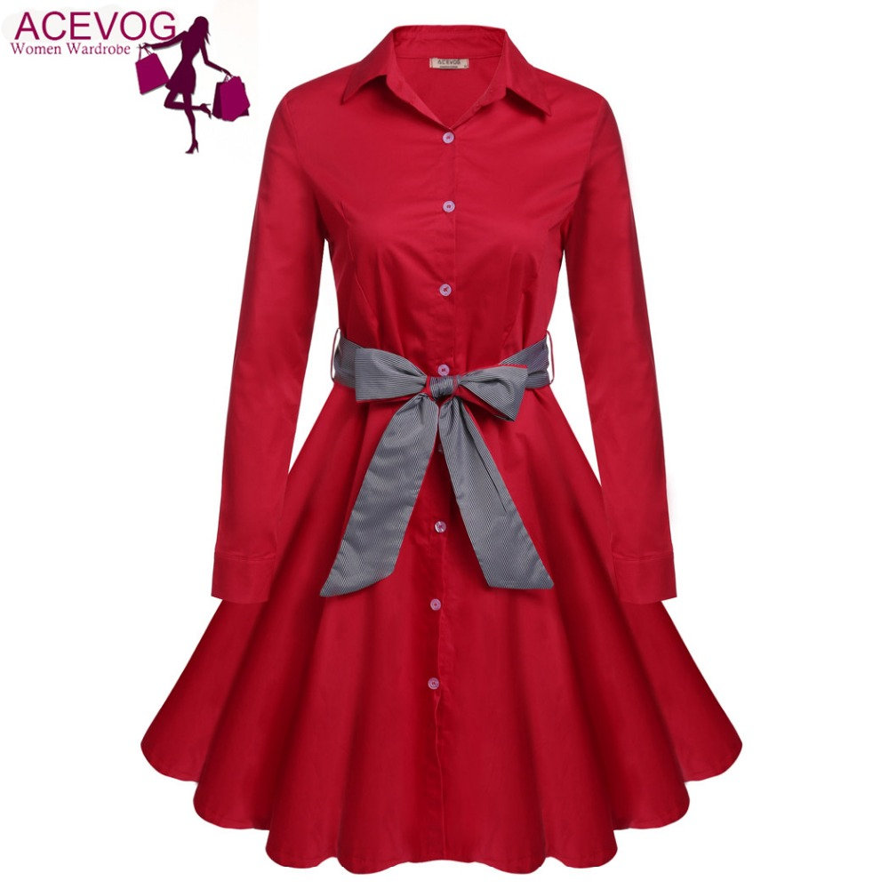 ACEVOG S - 2XL Women Dress Retro Vintage Turn Down Collar Long Sleeve Autumn Elegant Button Down Swing Shirt Dress With Belt floral chiffon dress long sleeve