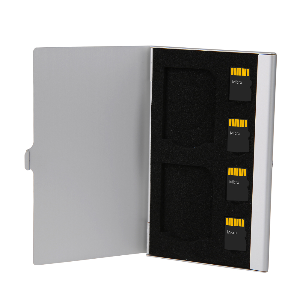Portable 6 Slots Aluminum <font><b>Storage</b></font> Box For SDTF <font><b>Micro</b></font> <font><b>SD</b></font> Cards Memory Card Case Holder Protector 9.35* 6.05* 0.5cm image