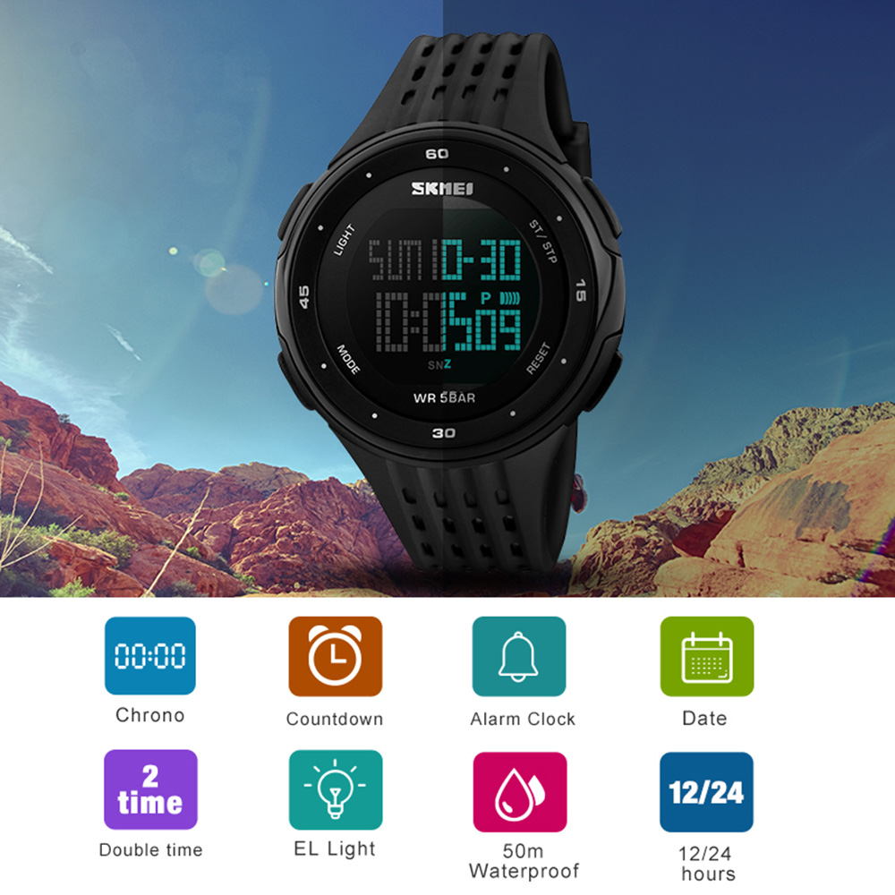 SKMEI Fashion Outdoor Watch Women 50M Waterproof Men Sport Wristwatches EL Display Military Digital Watch Relogio Masculino in Digital Watches from Watches