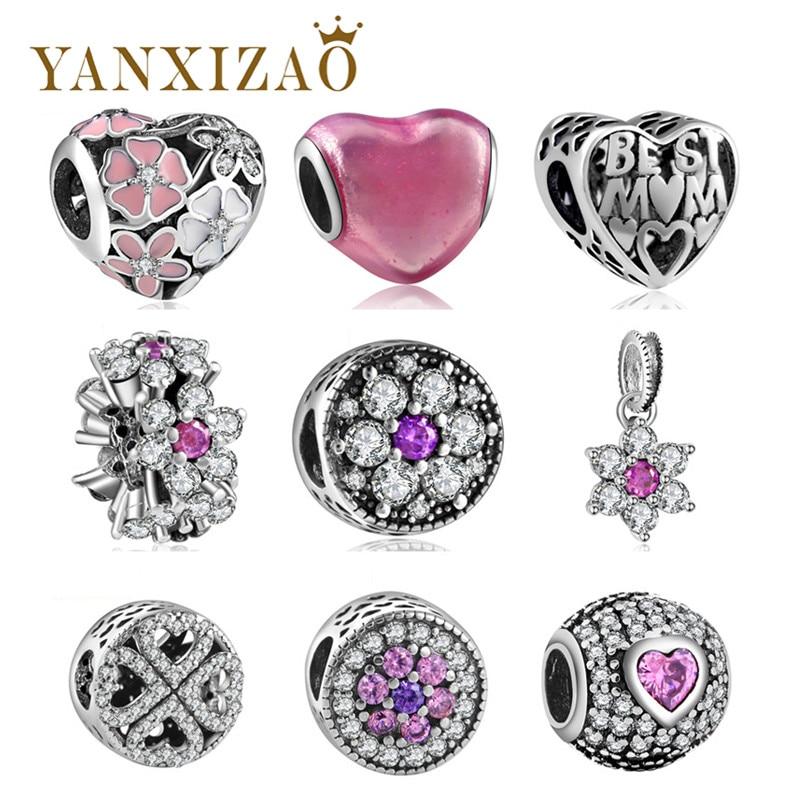 Yanxizao 2018 Plata CZ Europea Charm Beads Fit Pandora Original Pulsera Collar Colgante DIY Plata 925 Joyas Originales