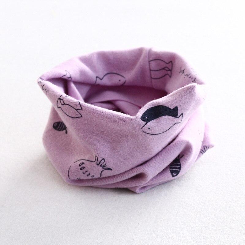 Осенне-зимний детский хлопковый шарф для девочек и мальчиков теплые шарфы Детский круглый кольцевой ошейник Детский шарф детский волшебный шейный платок - Цвет: fish 2
