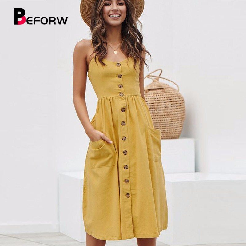 BEFORW Women Summer Dress 2019 Sexy Straps Bohemian Floral Tunic Beach Dress Sundress Pocket Red Dresses Female-in Dresses from Women's Clothing