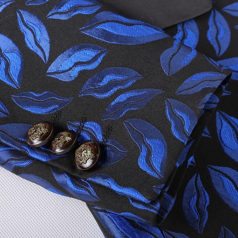 Blazers Motif Et 2016 Impression Hommes Feuilles Gratuite Livraison Costume Automne D'hiver De Bleu Veste Manteau Loisirs D'affaires Nouvelle Arrivée 8FZq8B