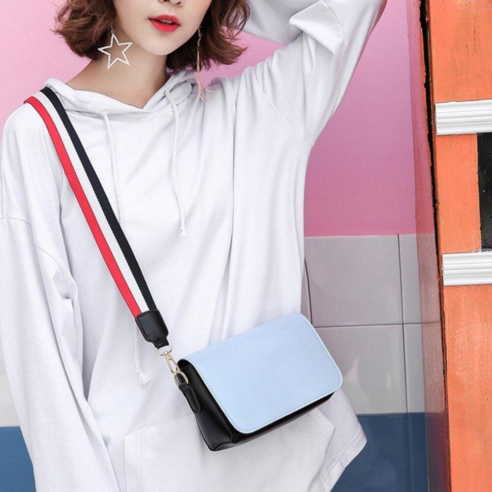Women Shoulder Bag 2018 Candy Color Women Bag PU Leather Shoulder Bag Wide Strap Female Crossbody Bags Phone Small Flap