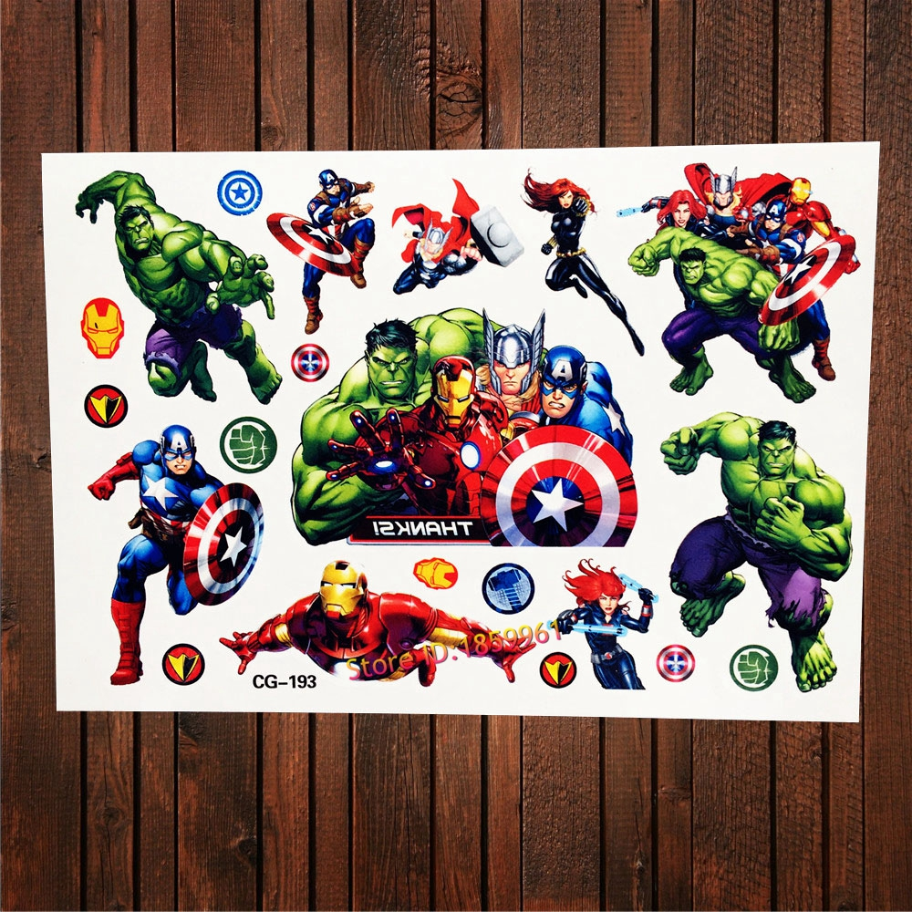 Children avengers captain america temporary tattoo for Superhero temporary tattoos